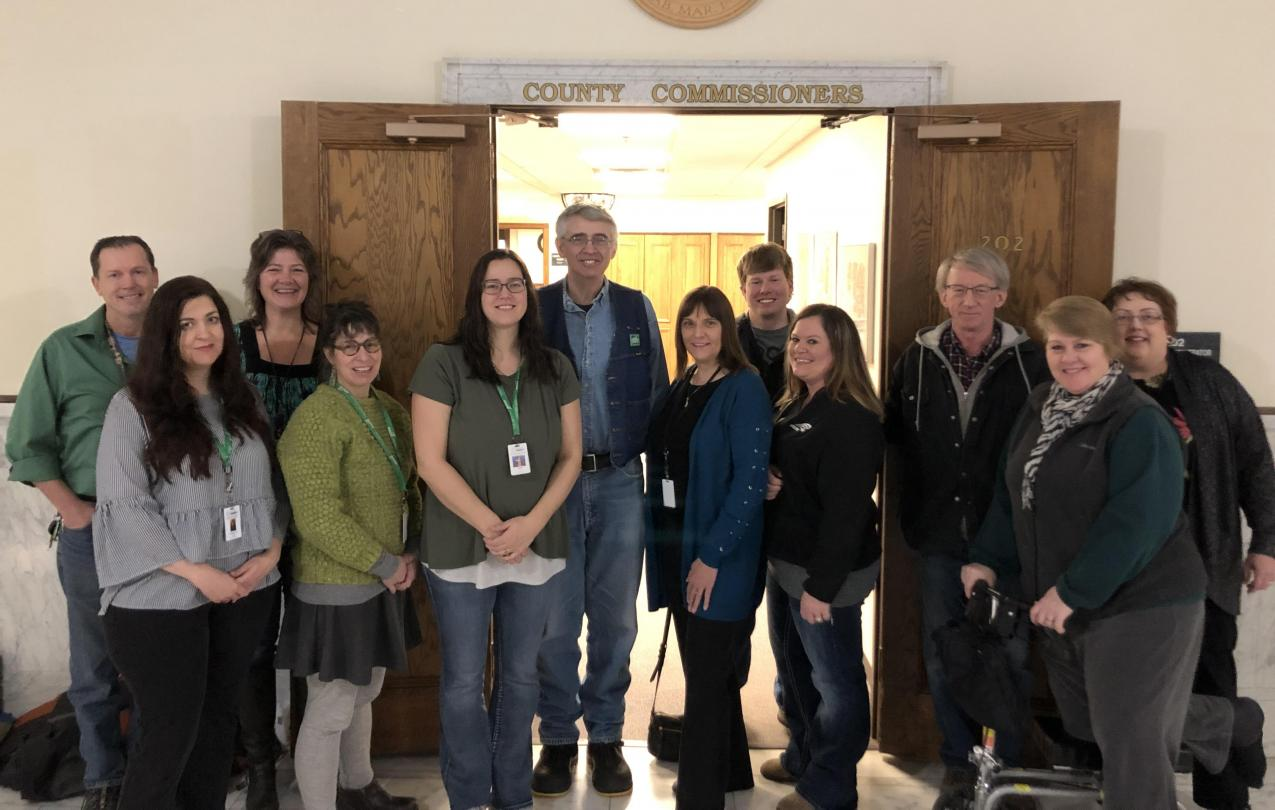 AFSCME Local 66 members attend a St. Louis County Board meeting