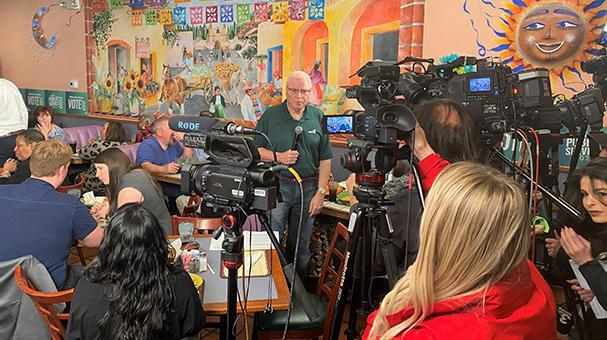 AFSCME President Lee Saunders speaks to the media before AFSCME's Nevada caucus event.