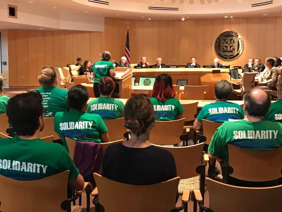 AFSCME members pack the Board room for the budget hearing